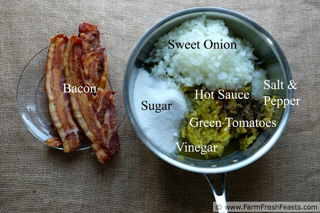 image of ingredients used for green tomato bacon jam