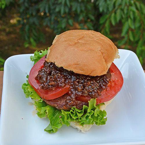 Bacon Jam and Tomato Burger featuring Certified Angus Beef Schweid and Sons