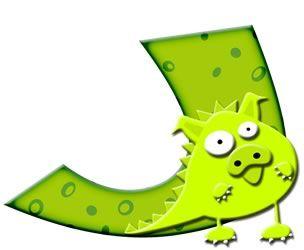 Abecedario Verde con Monstruos.