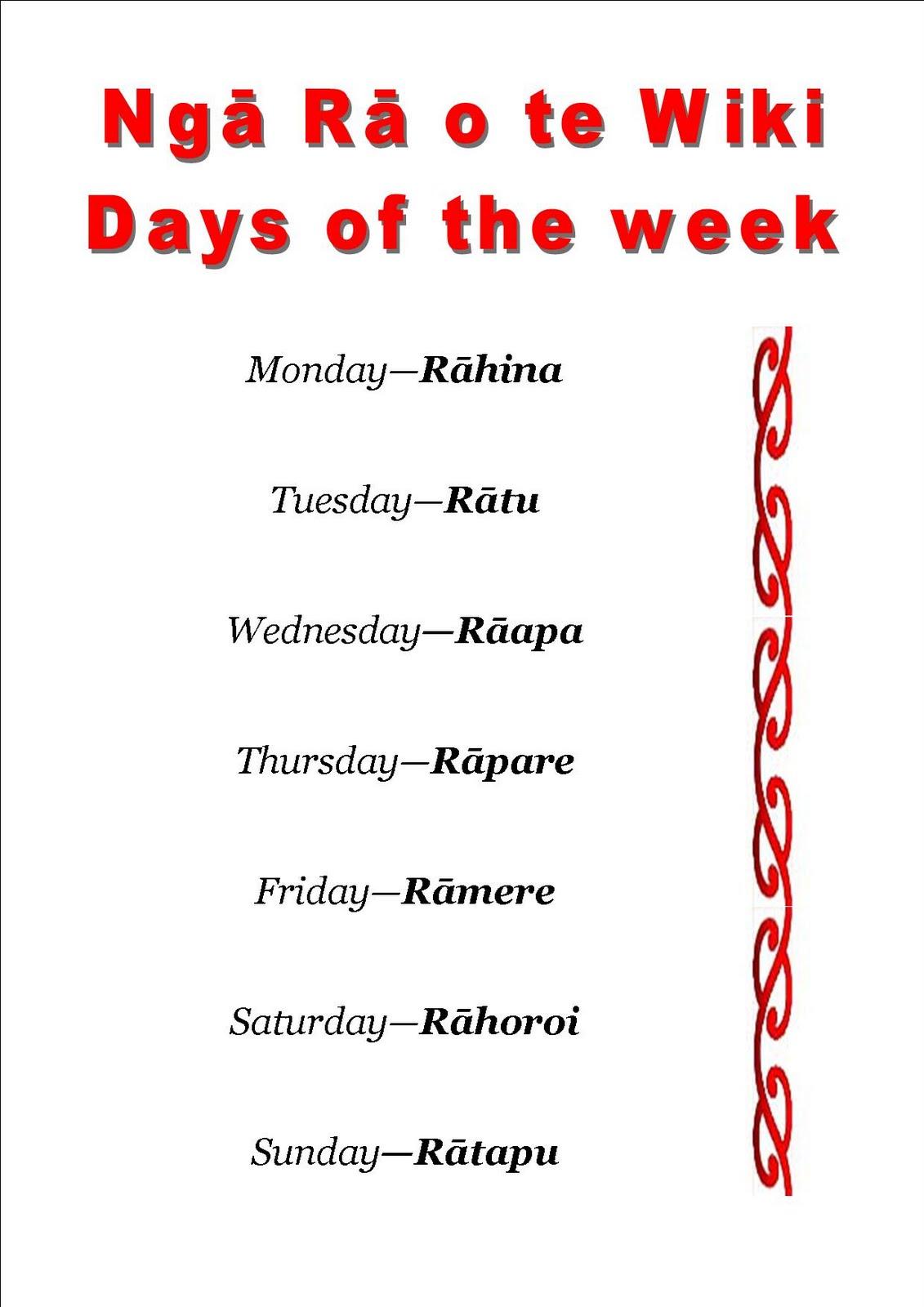 Bream Bay Kindergarten: Ngā Rā o to wiki   days of the week