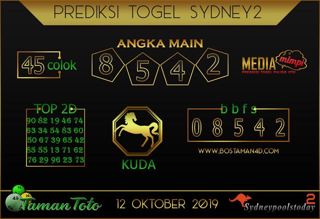 Prediksi Togel SYDNEY 2 TAMAN TOTO 12 OKTOBER 2019
