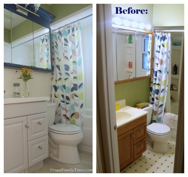 Bathroom Vanity Makeover before and after
