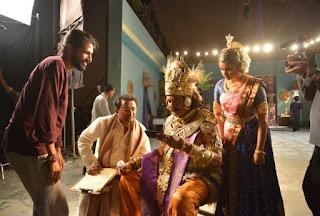 Keerthy Suresh and Mohan Babu with Director of Mahanati Nag Ashwin in Mahanati Working Stills