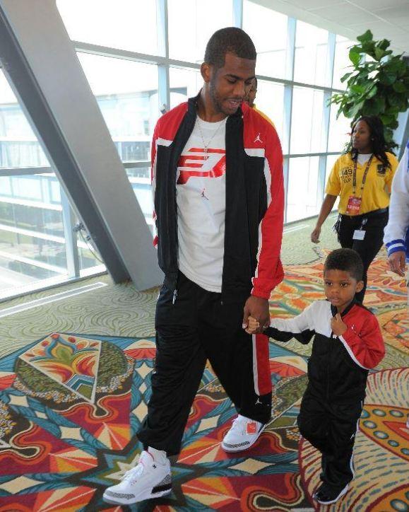 f3e891ee1 Chris Paul   Son Rocking Air Jordan 3 Retro  88 + Bred 11 Sneakers   NBAAllstar