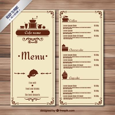 mẫu menu quán cafe file word
