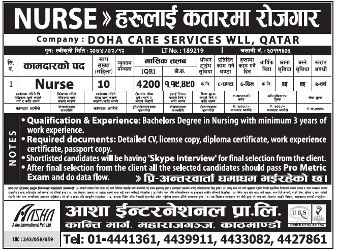 Jobs in Qatar for Nepali, Salary Rs 1,19,490