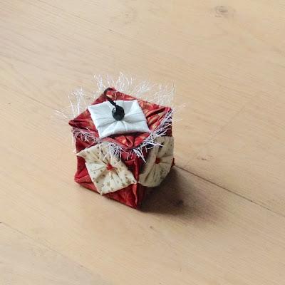 boîte tissu origami noël