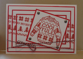 Red and white triple stamped Christmas Card with knitted jumper design