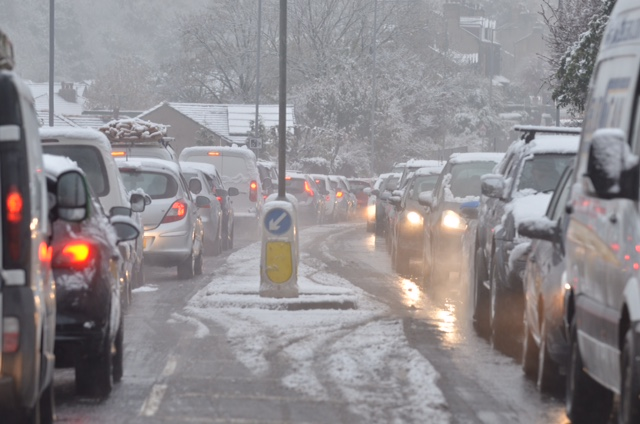 First significant snow of winter leads to school closures and gridlocked roads in Bradford