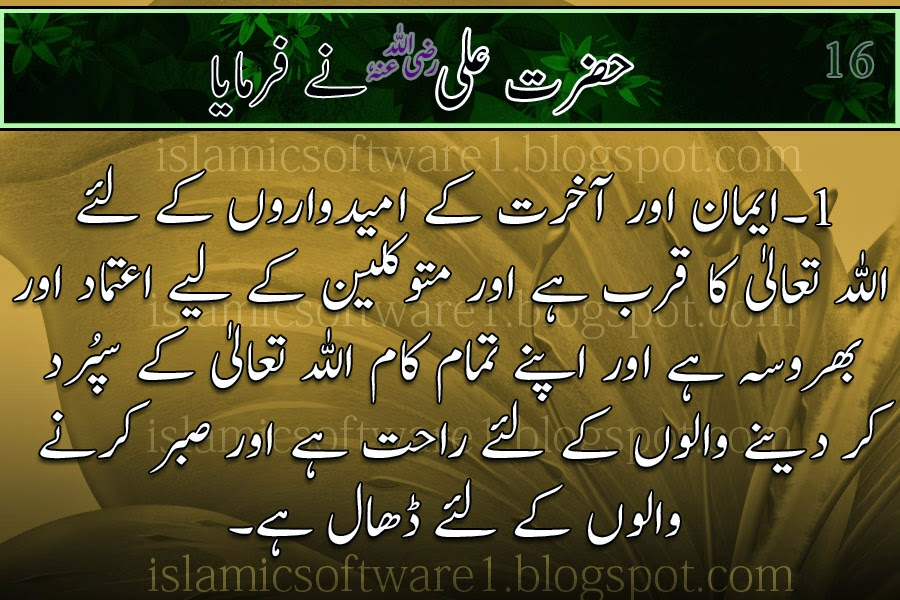 beautiful words of Hazrat Ali R.A
