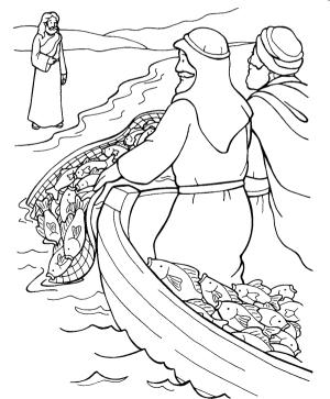 La Pesca Milagrosa para colorear ~ Dibujos Cristianos Para