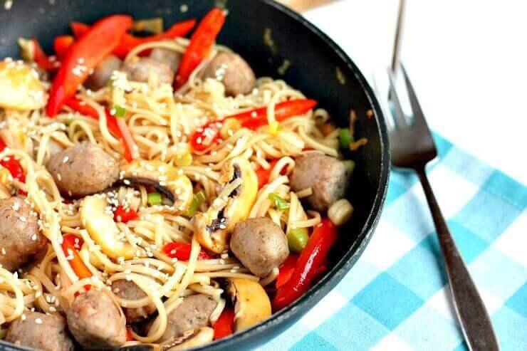 Sausage Noodle Stir Fry