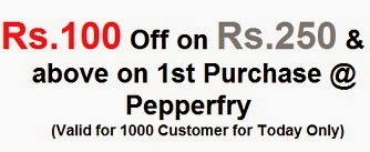Get Rs.100 Off on Min Cart Value of Rs.250 or above (Valid for First Time Purchase from Pepperfry Today Only)