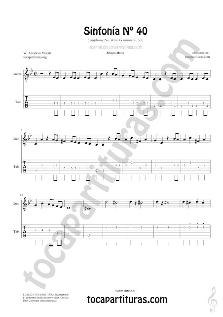 Hoja 1 Guitarra Tablatura y Partitura de Sinfonía Nº 40 Punteo Tablature Sheet Music for Guitar Tabs Music Scores PDF y MIDI aquí  Vídeo