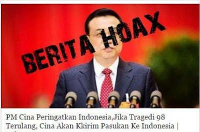 Tersebar Berita HOAX Terkait Pernyataan PM Cina yang Peringatkan Indonesia,Jika Tragedi 98 Terulang, Cina Akan Kirim Pasukan Ke Indonesia - Commando