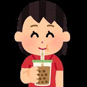 タピオカミルクティーを飲む人のイラスト(女性)