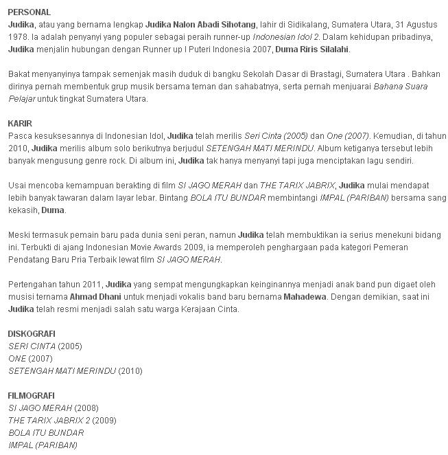 Judika: Biodata Judika Nalon Abadi Sihotang