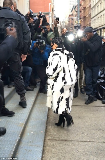 Kim Kardashian Is Fierce In Revealing Top And Classy In Cruella de Vil-inspired Fur Coat In Preparation For New York Fashion Week