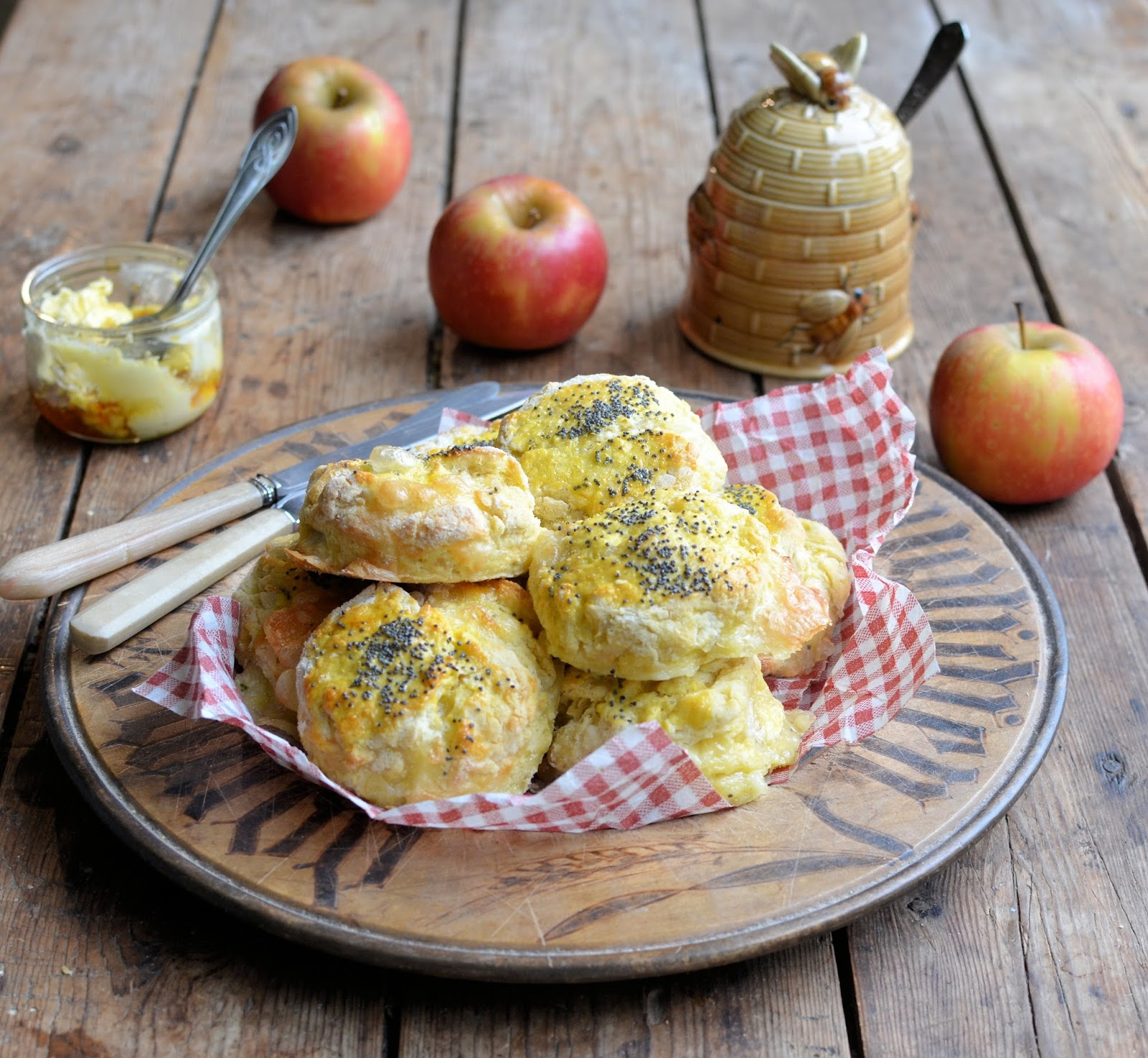 Le Rustique Camembert & Apple Scones with Honey Butter