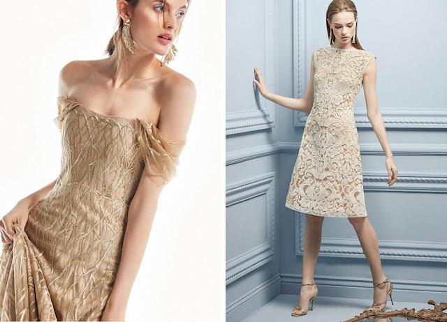 Платье, расшитое блестками и кружевное платье