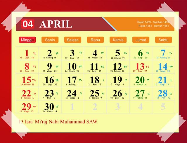Download Kalender April 2018 Hijriyah Jawa Dan Pasaran