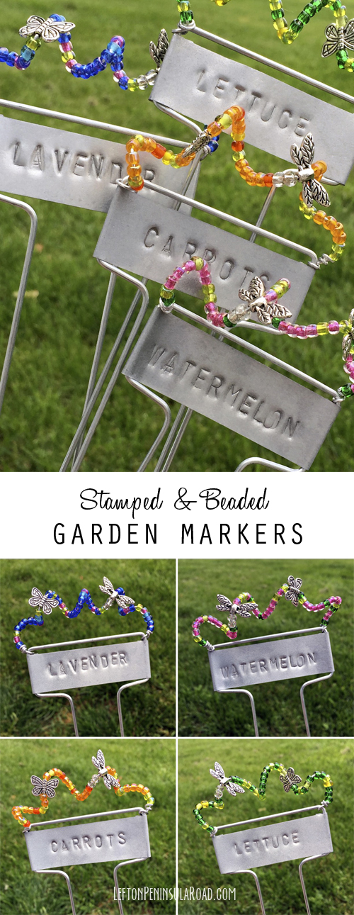 Make a set of Stamped and Beaded Markers for Your Garden!