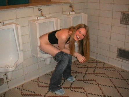 18 year girl pees in a urinal 10