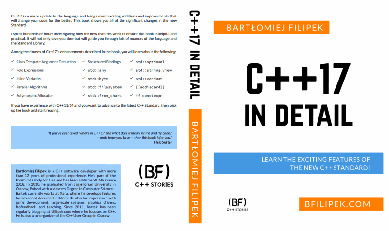 C++17 in Detail, back cover