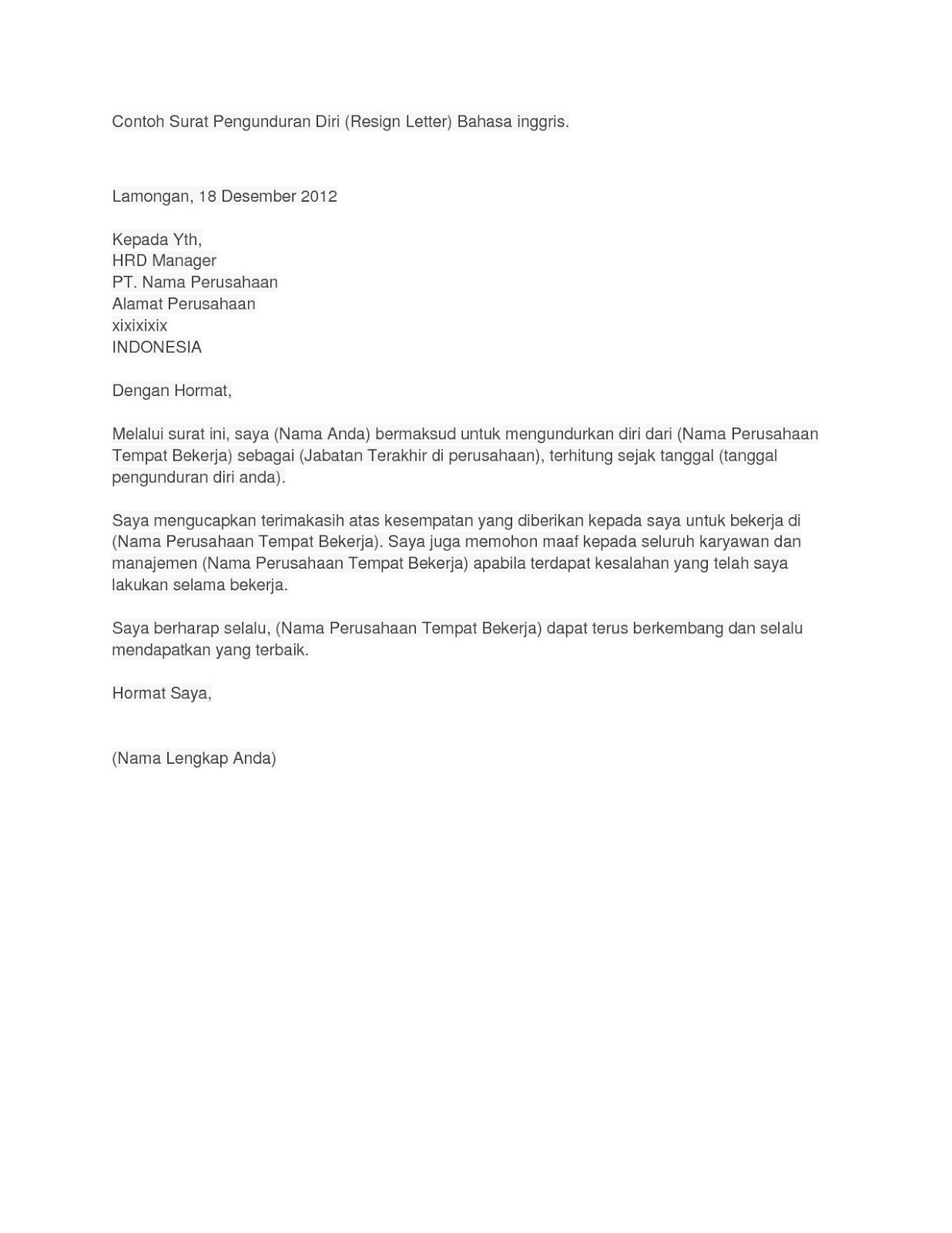 Surat Pengunduran Diri Contoh Surat