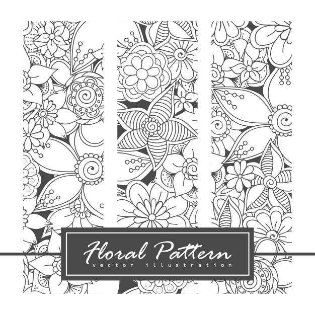 Vector zentangle patterns. black and white abstract floral background. Free Vector