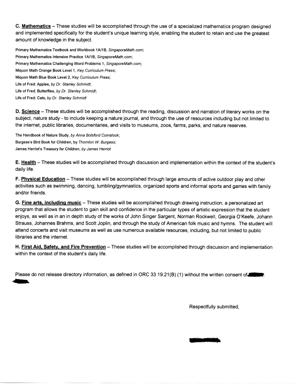 Homeschooling outline