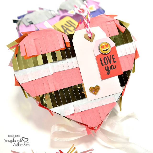 Pink Gold and White Heart Pinata with 3D Foam Holographic Heart