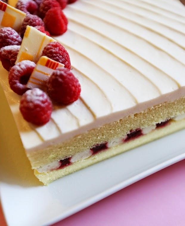 Gourmet Baking White Chocolate And Raspberry Cake