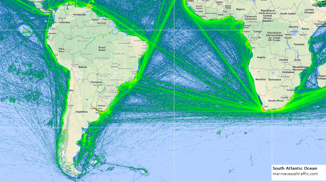 SOUTH ATLANTIC OCEAN SHIP TRAFFIC Ship Traffic