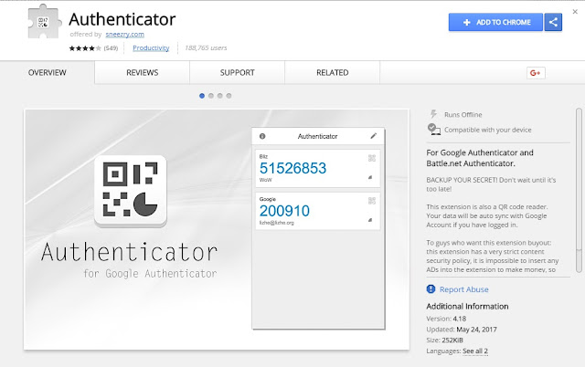 Authenticator trên chrome