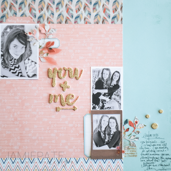 Pink Paislee Cedar Lane Paper Collection. Layout created by @jamiepate
