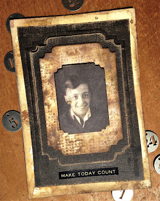 sarascloset Make Today Count Masculine card Tim Holtz Stacked Label