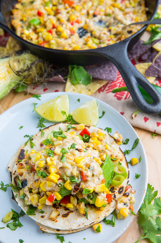 Roasted Corn Queso Fundido and Avocado Tacos