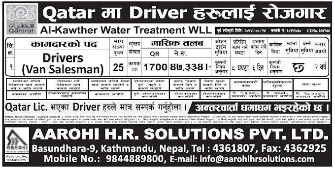 Jobs in Qatar for Nepali, Salary Rs 47,334