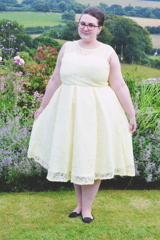 Plus size yellow lace bridesmaid dress