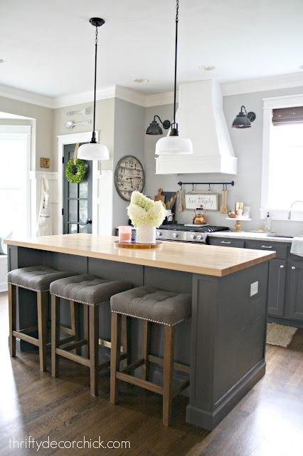 Butcher block on kitchen island