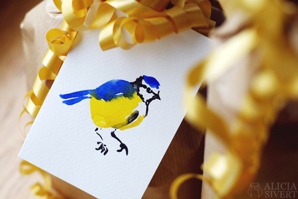 blue tit blåmes akvarell aquarelle water colour color birthday card födelsedagskort kort målning painting bird fågel alicia sivert aliciasivert sivertsson