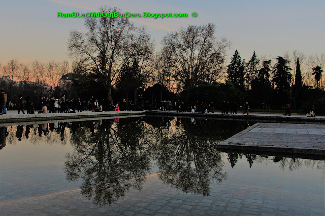 Reflection Pool, Sunset with fountain, Temple of Debod, Madrid, Spain