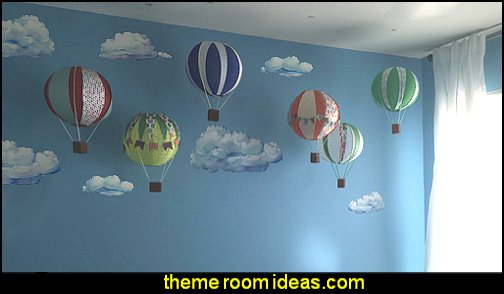 cloud wall decals hot air balloons transportation theme bedroom cloud theme decorating