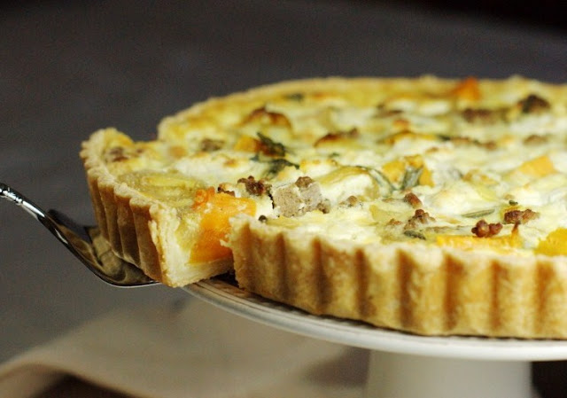 Roasted Sweet Potato & Sausage Quiche