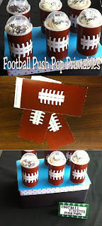 Have a fun treat at your football party or super bowl party with these yummy football push pop treats.  Using simple containers you can get at any craft store and these football free printables, you'll have an easy and fun party treat in no time. #footballparty #footballprintable #footballdessert #desserttable #diypartymomblog