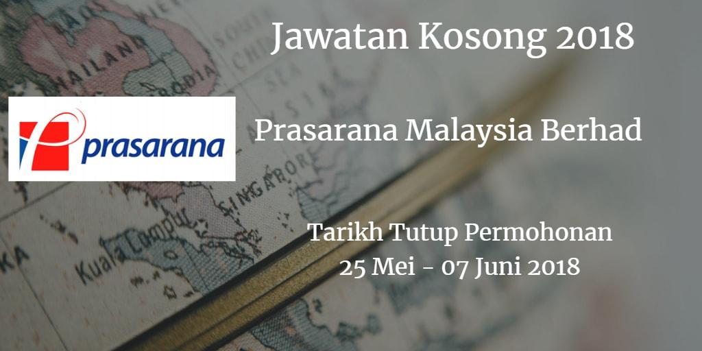 Jawatan Kosong Prasarana Malaysia Berhad 25 Mei - 07 Jun 2018