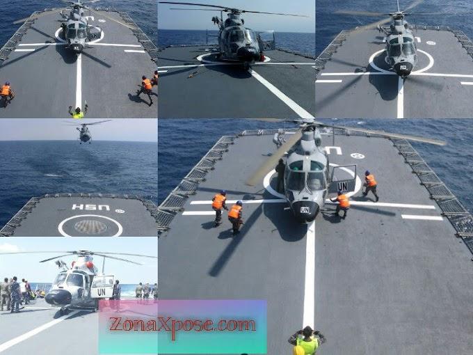 Helikopter TNI Dauphin HR-3601 Onboard Pertama di Geladak KRI Usman Harun-359