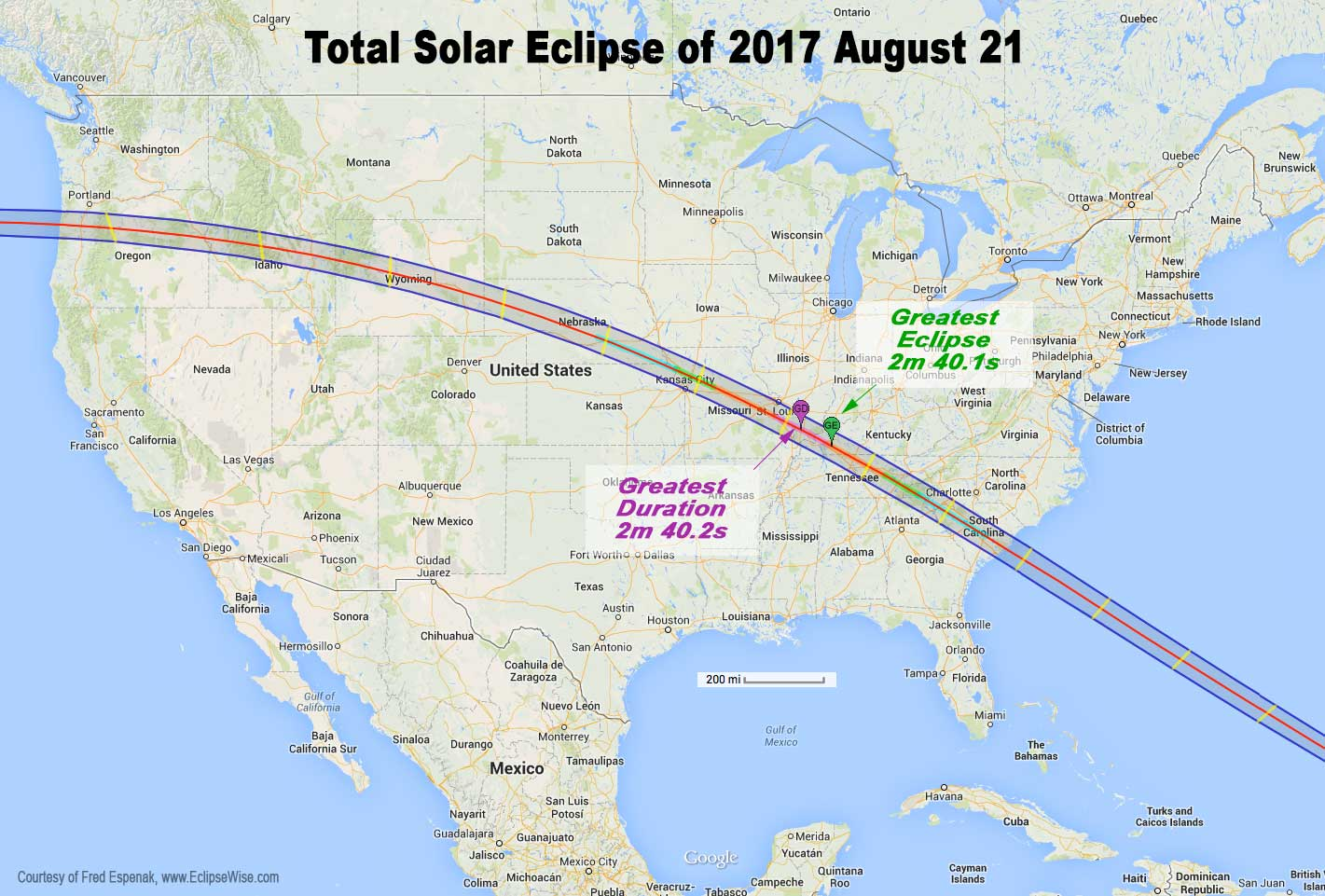 alignment of the sun the moon and the earth will cast the moon s shadow on a path a little over 100 miles wide taking a wide arching through the usa