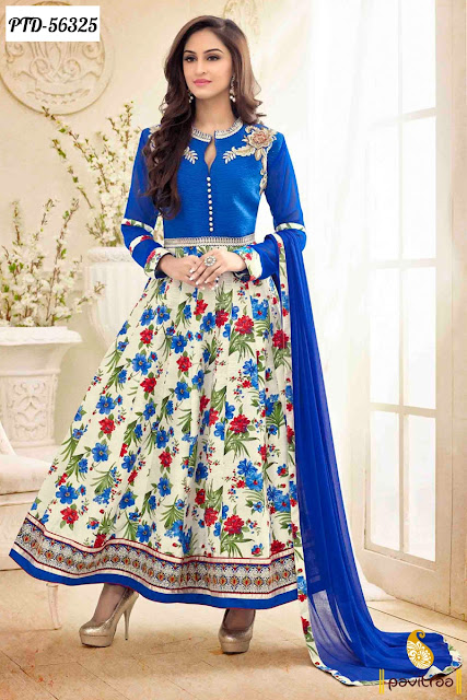 Tv actress jivika blue color bhagalpuri anarkali salwar suit for wedding parties at lowest price